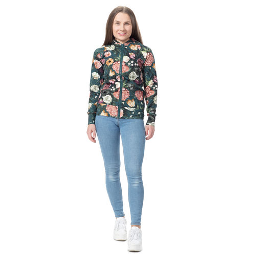 BOMBERjacket womens (Kukkaiskylpy petrol stretch college)