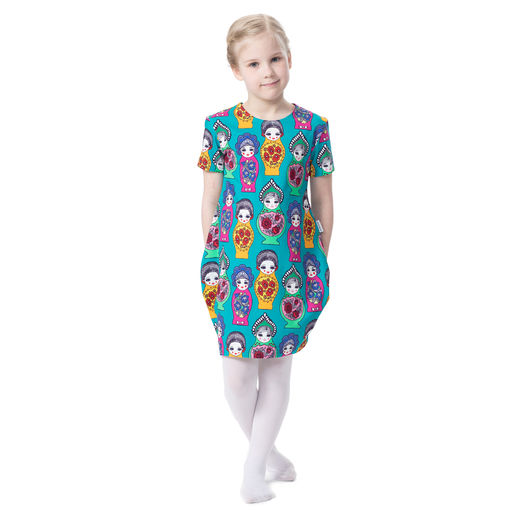 MAATUSKAdress girls SS (Maatuska turquoise/pink/yellow tricot)