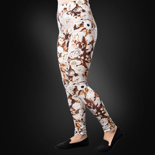 MUKAVAleggings women (Kukkaiskylpy grey/white/copper tricot)