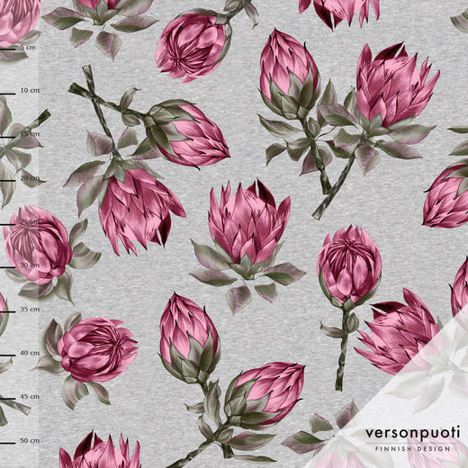 Protea (grey/pink) digiprint stretch college