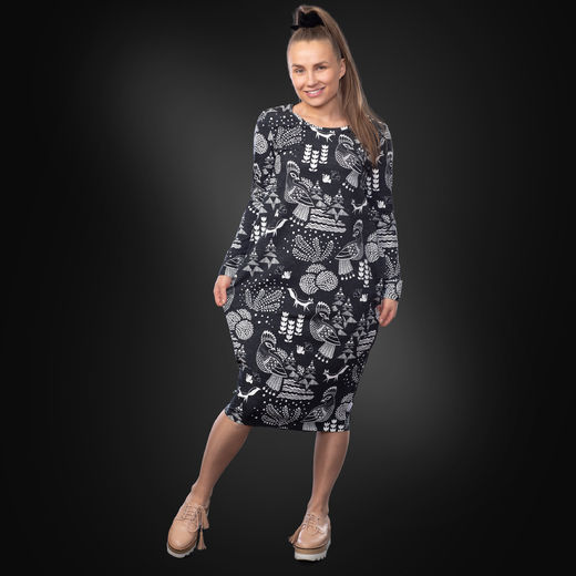 RUNOdress women (Sielulintu black/white tricot)