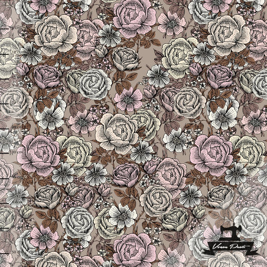 Ruusukko (brown/light pink) digitricot