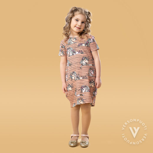 MAATUSKAdress girls SS (Yksisarvisjemma old rose tricot)