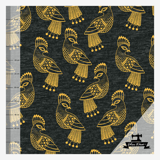 Sielulintu single (black/yellow linen effect ) digitricot