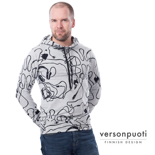 URHOhoodie (Pitkät piuhat grey melange/ black stretch college)